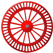Roue fond rouge
