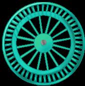 Roue fond turquoise